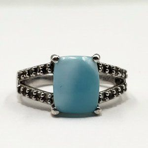 Sterling Silver 3.0 ct Larimar & Sapphire Ring